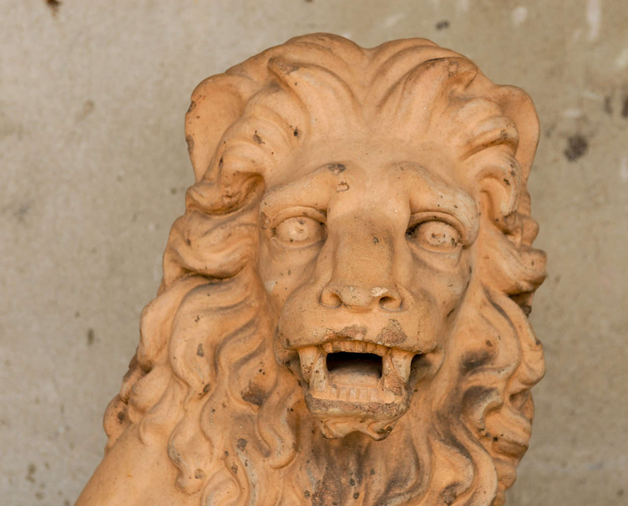 Italian 19th Century Terracotta Lion on Faux Marble Pedestal In Good Condition For Sale In Atlanta, GA