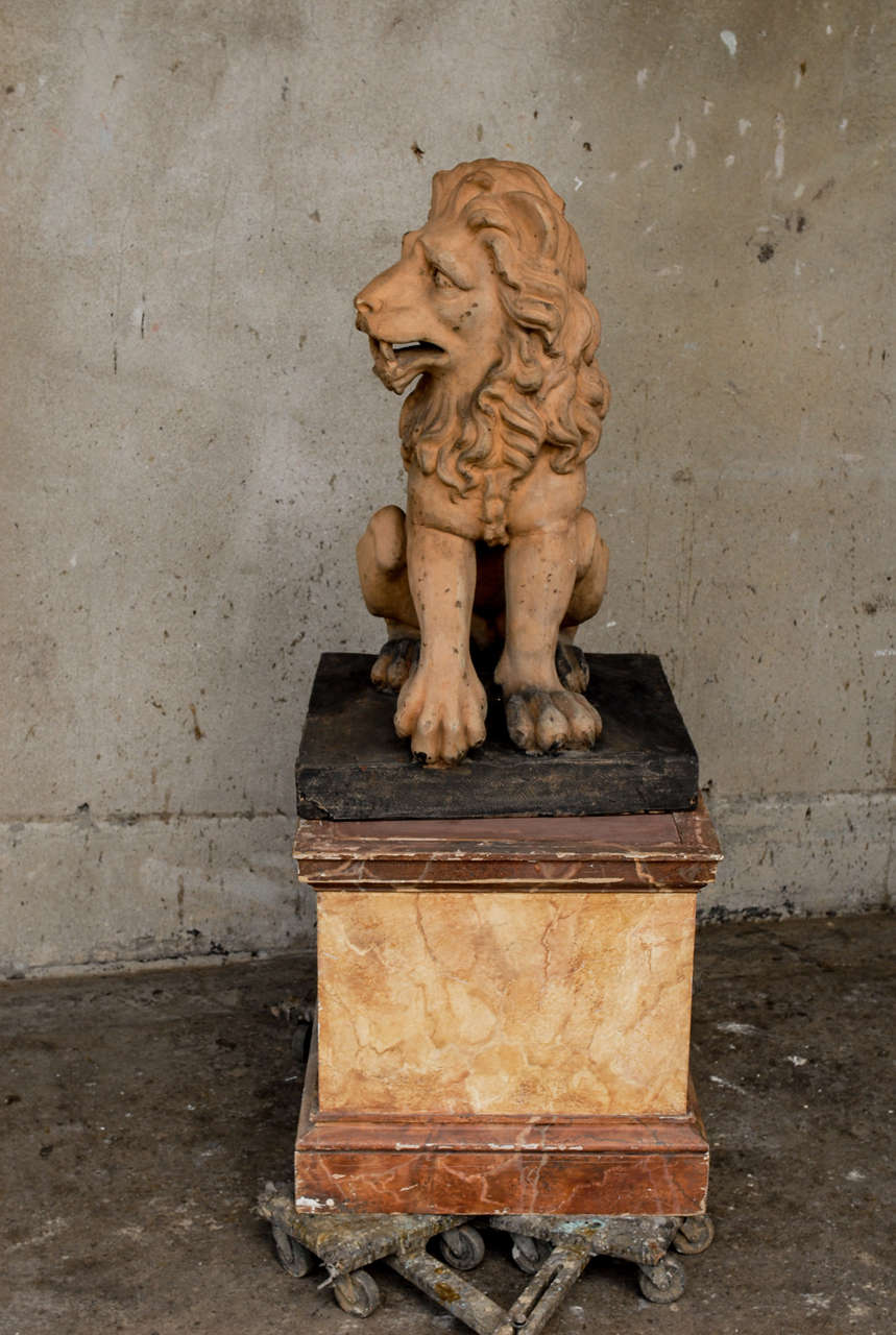 Italian 19th Century Terracotta Lion on Faux Marble Pedestal For Sale 4