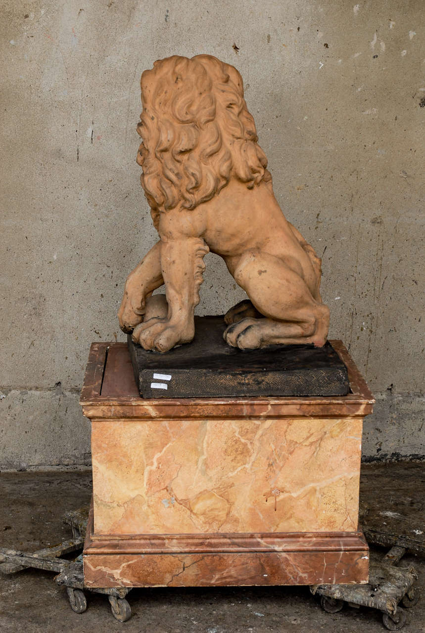 Italian 19th Century Terracotta Lion on Faux Marble Pedestal For Sale 5