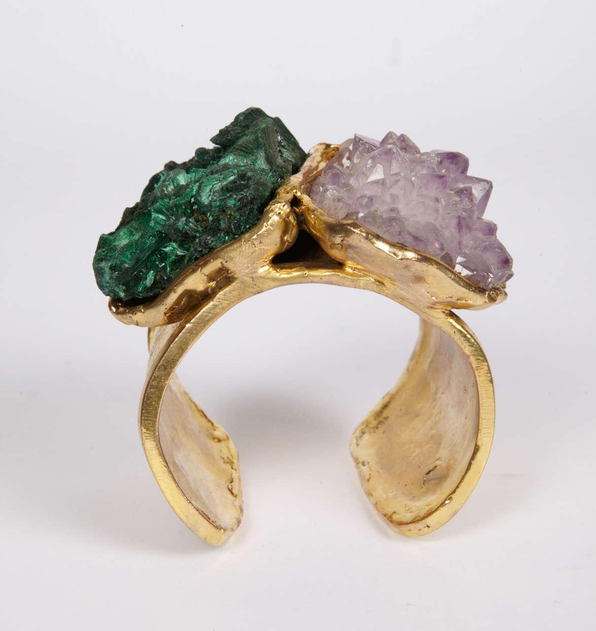 Valerie Egee -  Bronze Cuff Bracelet, Green Malachite, Rodocrosytis 2
