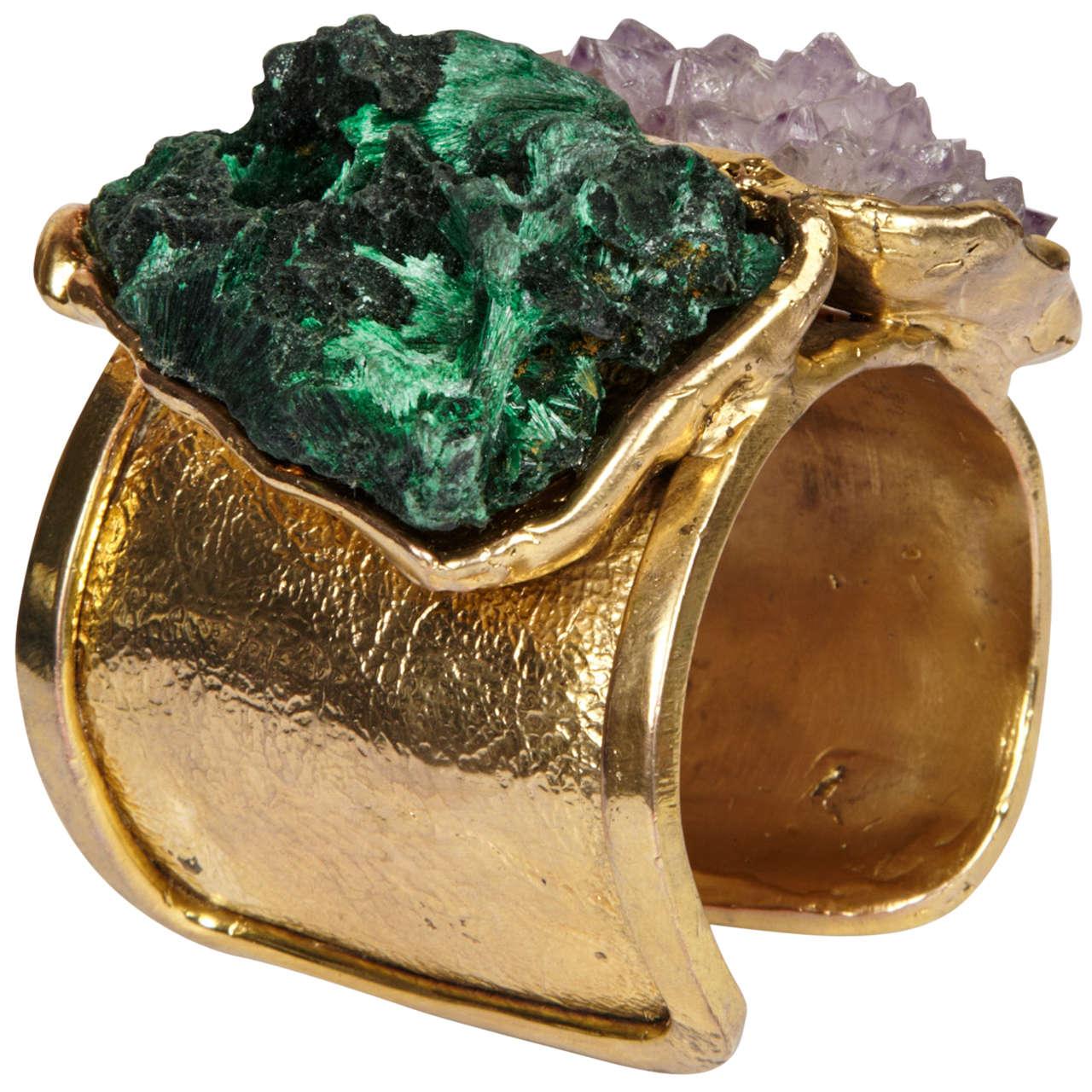 Valerie Egee -  Bronze Cuff Bracelet, Green Malachite, Rodocrosytis 1