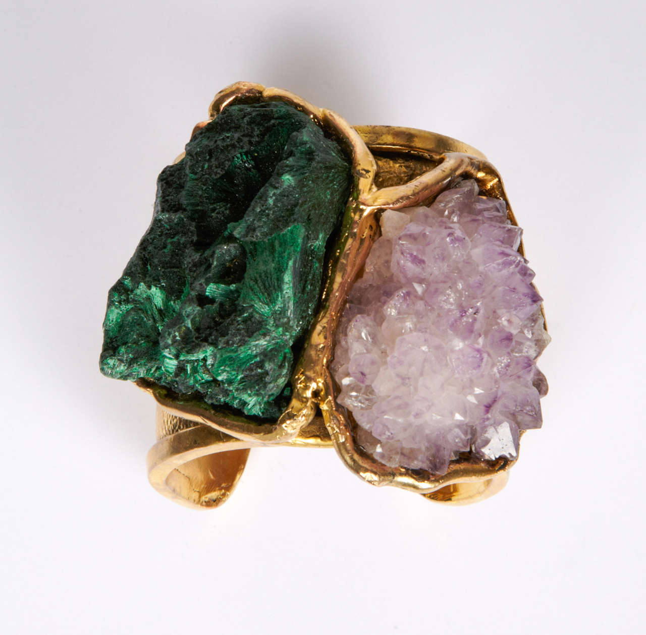 Valerie Egee -  Bronze Cuff Bracelet, Green Malachite, Rodocrosytis 3