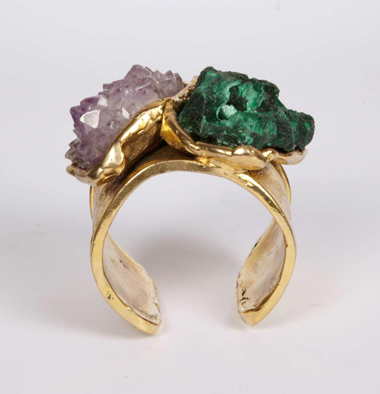 Valerie Egee -  Bronze Cuff Bracelet, Green Malachite, Rodocrosytis 4