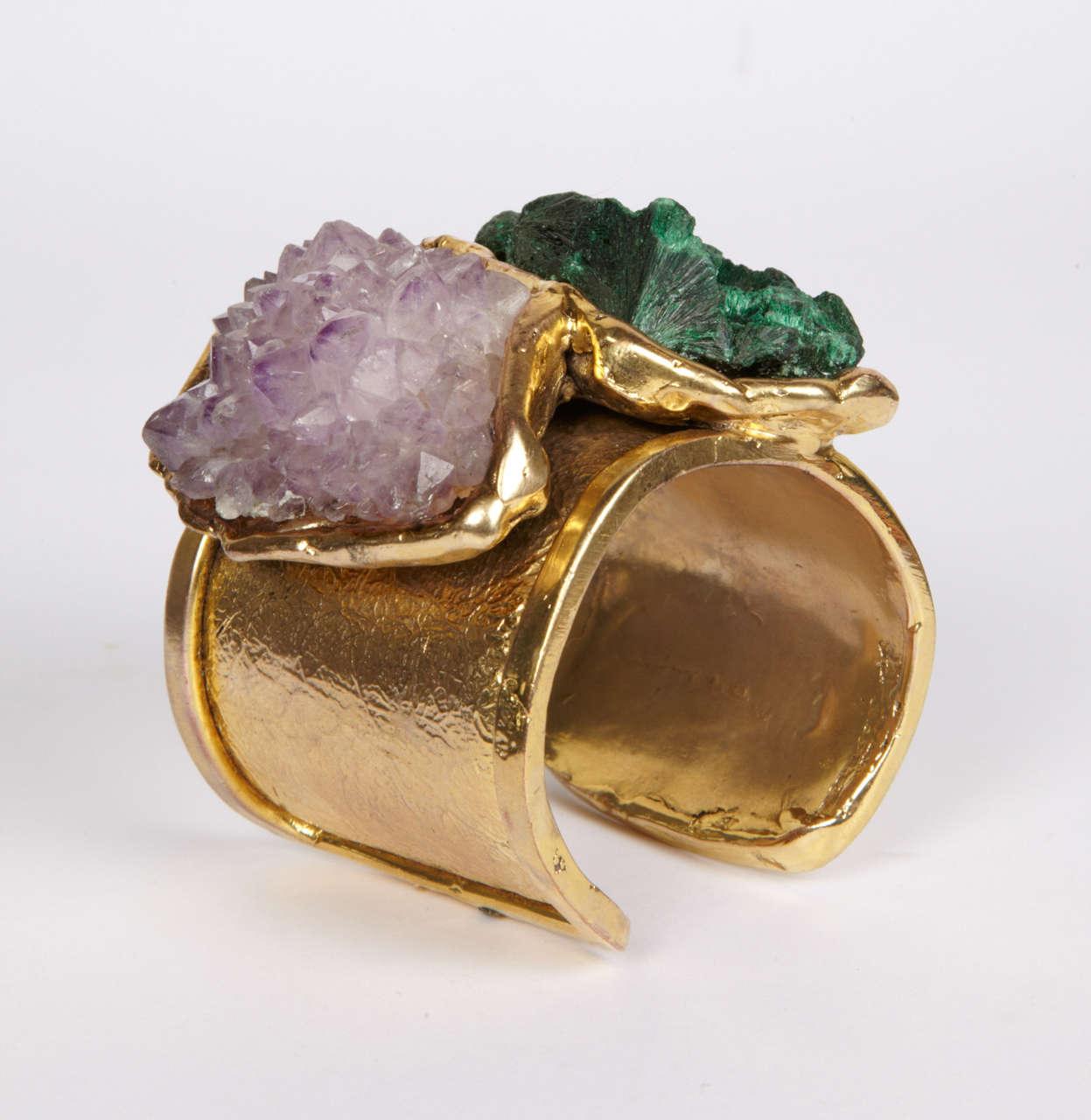 Valerie Egee -  Bronze Cuff Bracelet, Green Malachite, Rodocrosytis 5