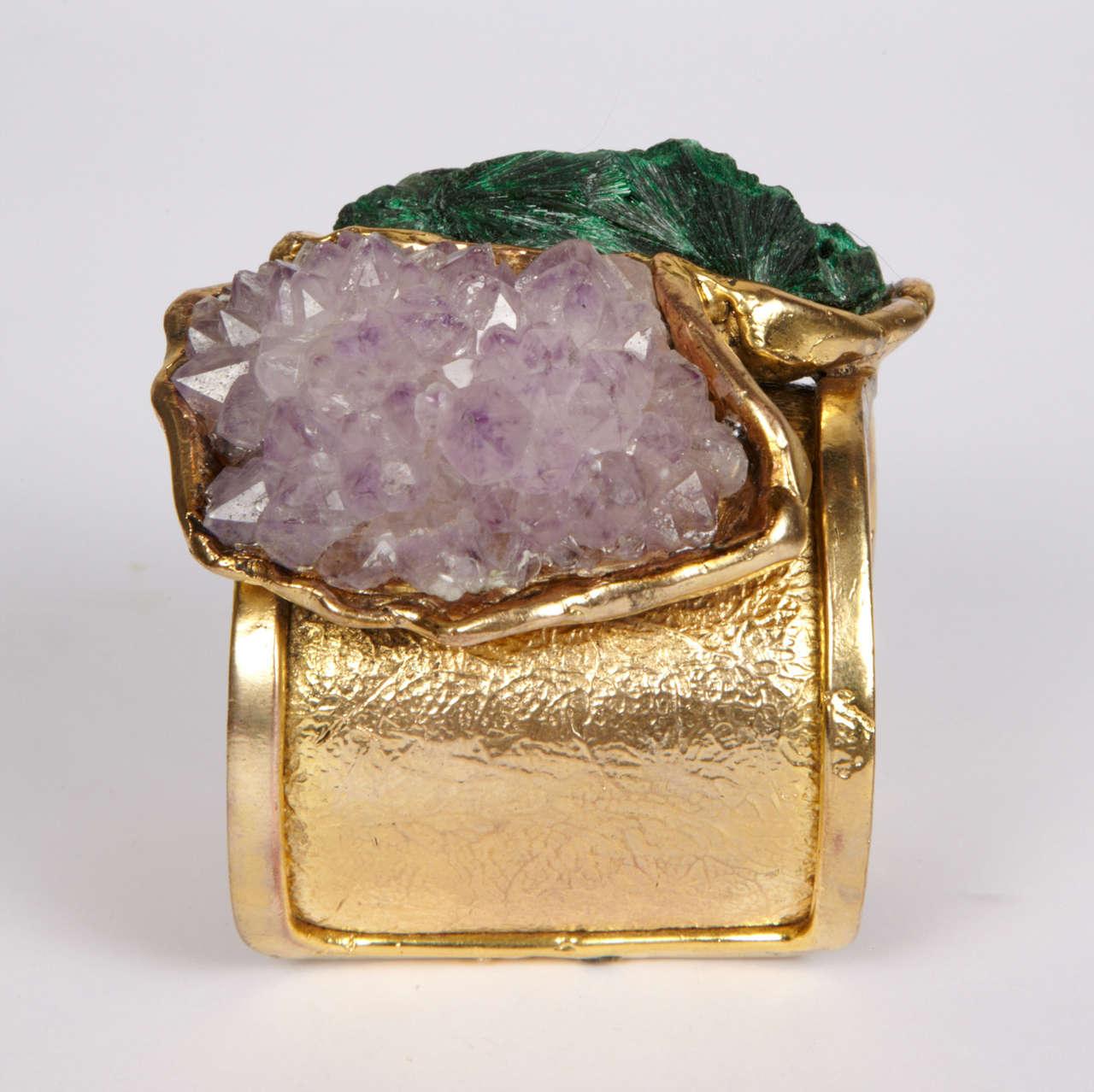 Valerie Egee -  Bronze Cuff Bracelet, Green Malachite, Rodocrosytis 6