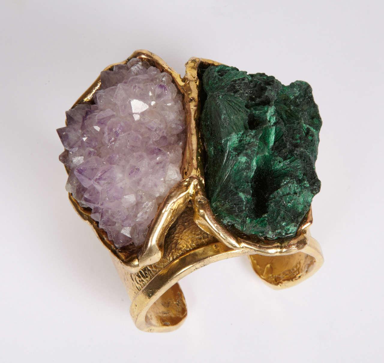 Valerie Egee -  Bronze Cuff Bracelet, Green Malachite, Rodocrosytis 7