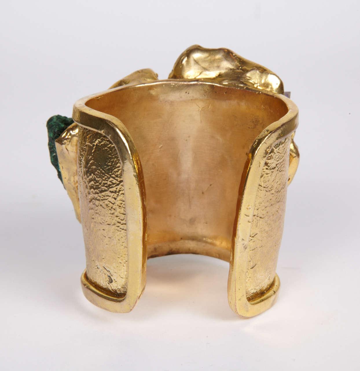 Valerie Egee -  Bronze Cuff Bracelet, Green Malachite, Rodocrosytis 8