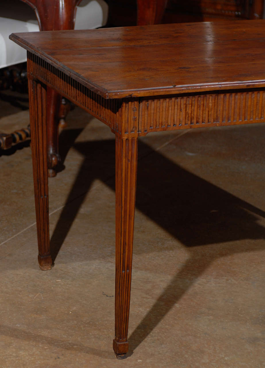Wood Louis XVI Period French Late 18th Century Side Table with Fluted Tapering Legs For Sale