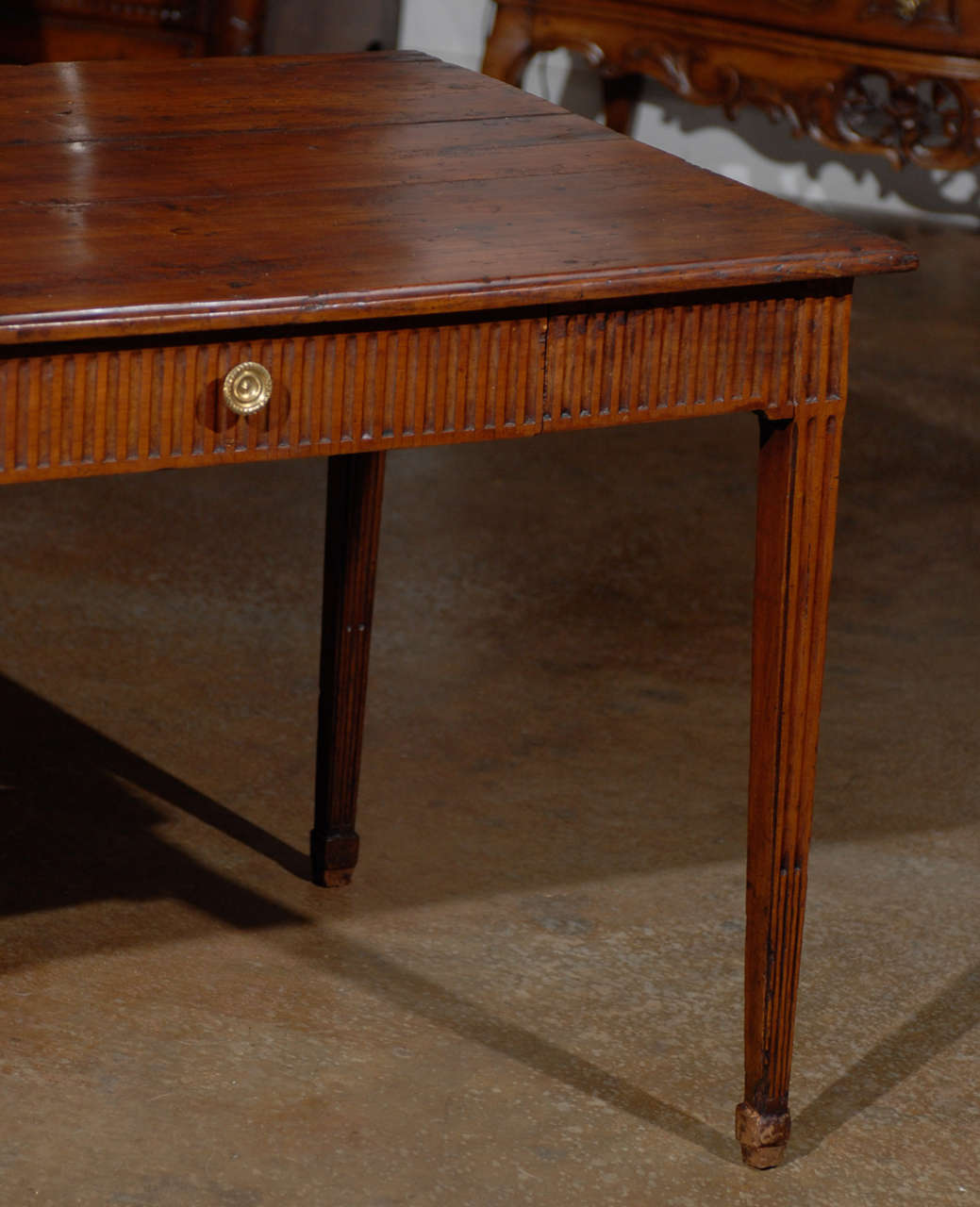Louis XVI Period French Late 18th Century Side Table with Fluted Tapering Legs For Sale 1
