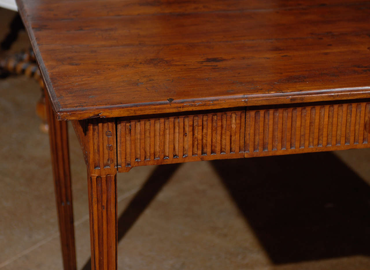 Louis XVI Period French Late 18th Century Side Table with Fluted Tapering Legs For Sale 3