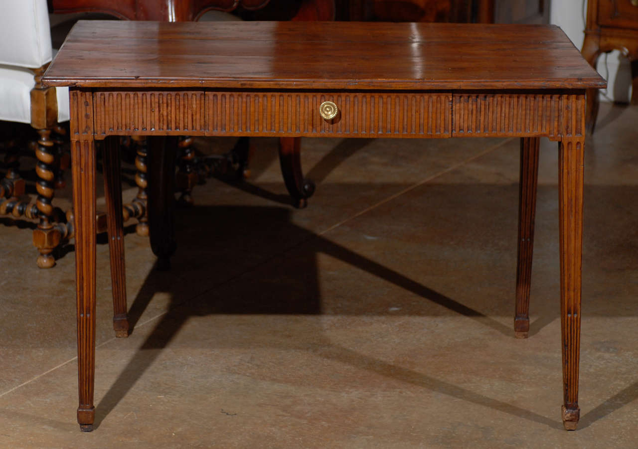 Louis XVI Period French Late 18th Century Side Table with Fluted Tapering Legs For Sale 6