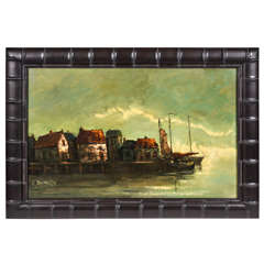Vintage Oil Painting of Harbor Scene
