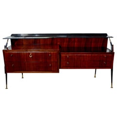 Midcentury Silvio Cavatorta Rosewood Commode with Glass Top