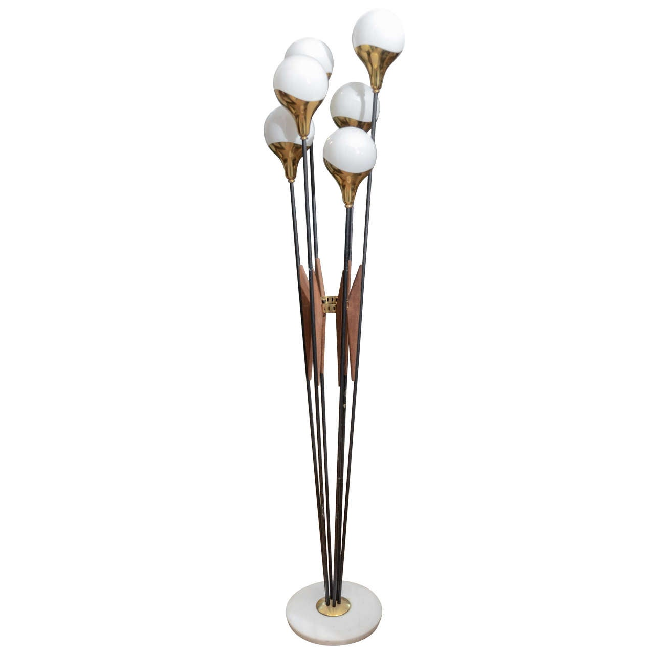 Italian Stilnovo Floor Lamp With Glass Globes And Brass Finishes
