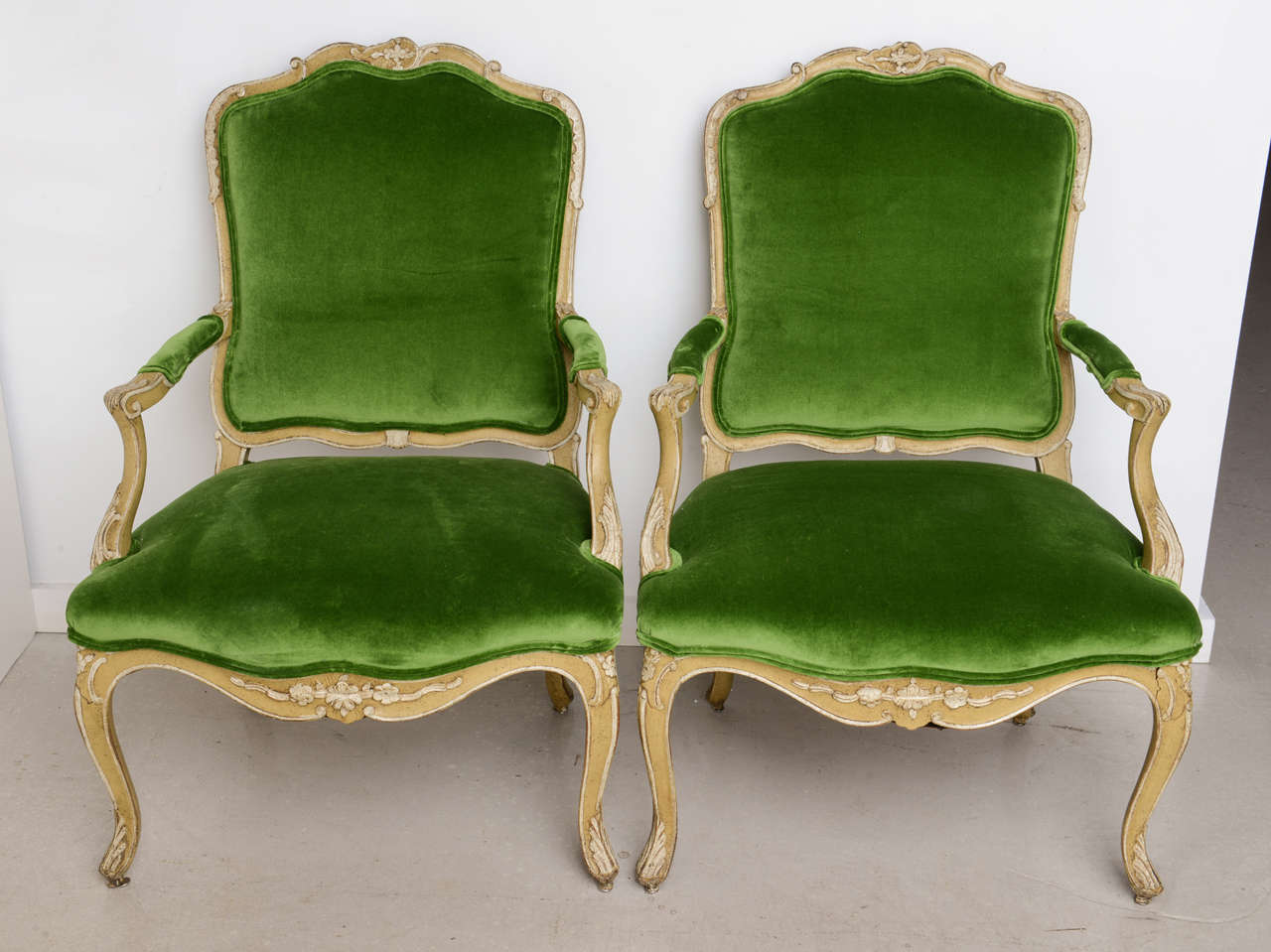 pair of bergeres with green velvet armchairs . pair of bergeres with green velvet armchairs at stdibs