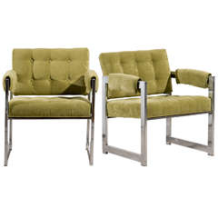 Stylish Pair of Milo Baughman Lounge/Club Chairs in Lime Chenille
