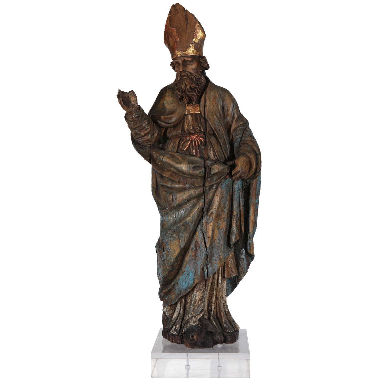 16th Century Wood Statue of a Bishop