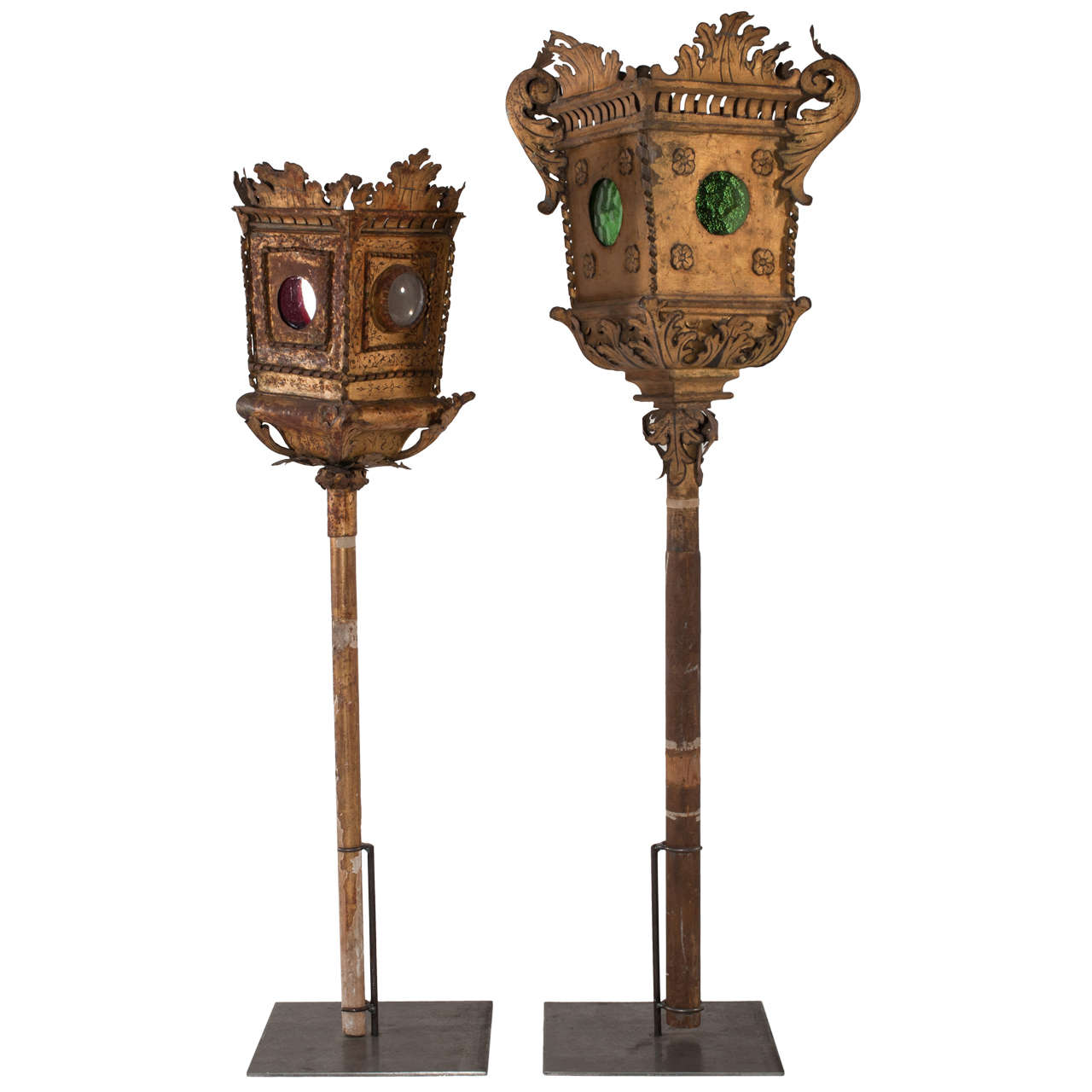 18th Century Pair of Golden Plate Lanterns