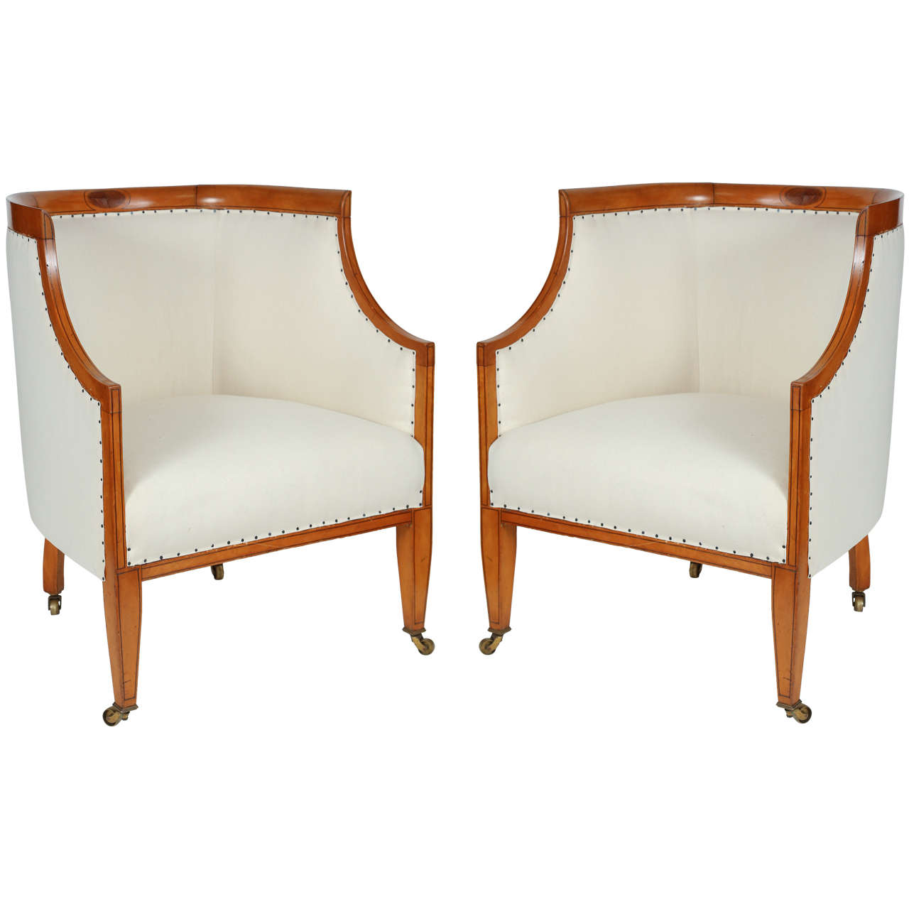 Pair Of Biedermeier Barrel Chairs At 1stdibs