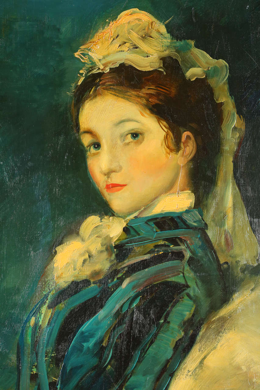 Painting of Victorian Era Woman For Sale at 1stdibs