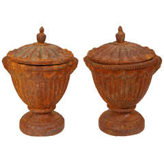 Pair of Vintage Iron Urns