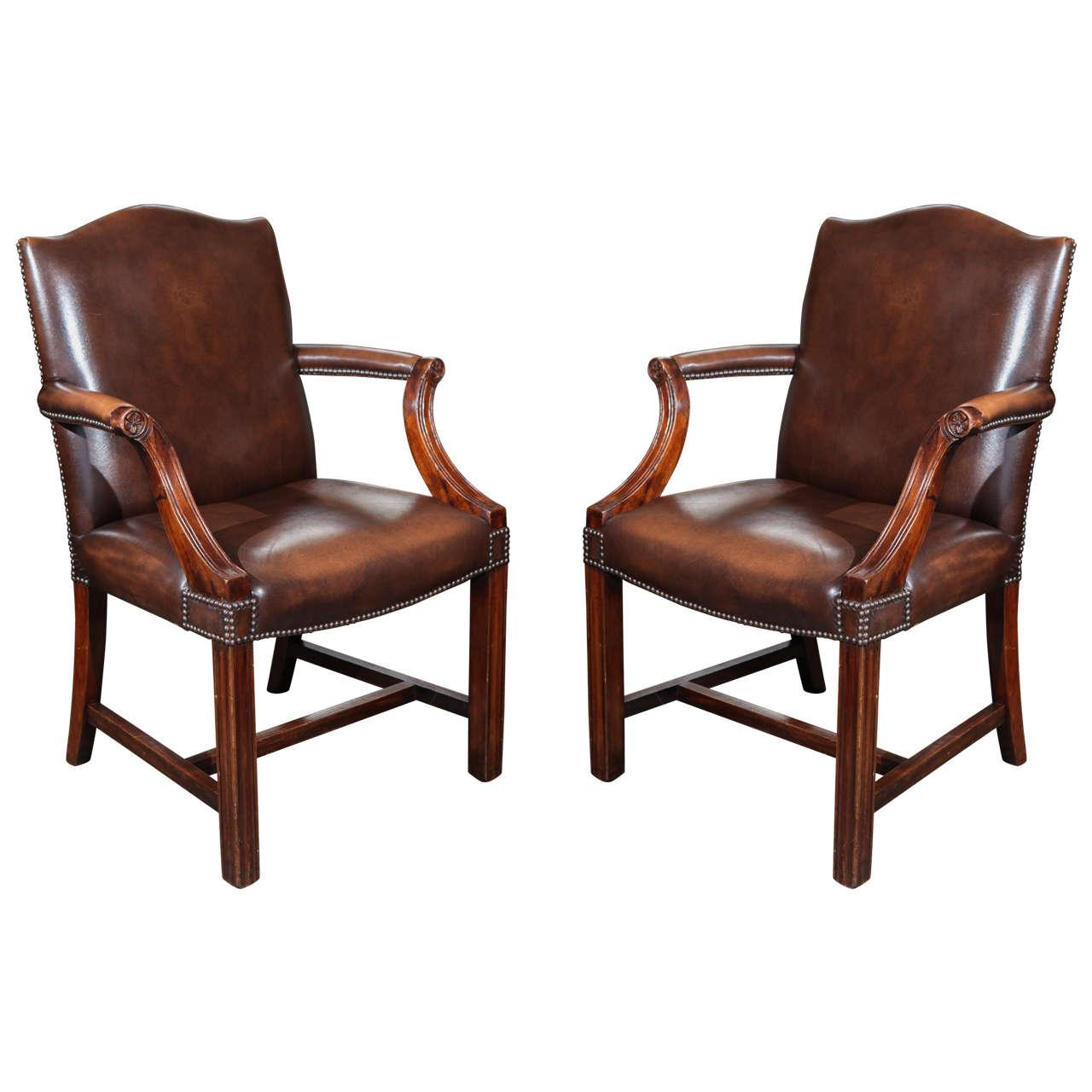Pair of Georgian Revival Gainsborough Armchairs