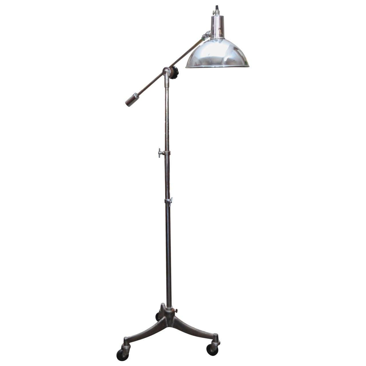Mid-Century Adjustable Metal Lamp on Tripod Wheeled Base from England