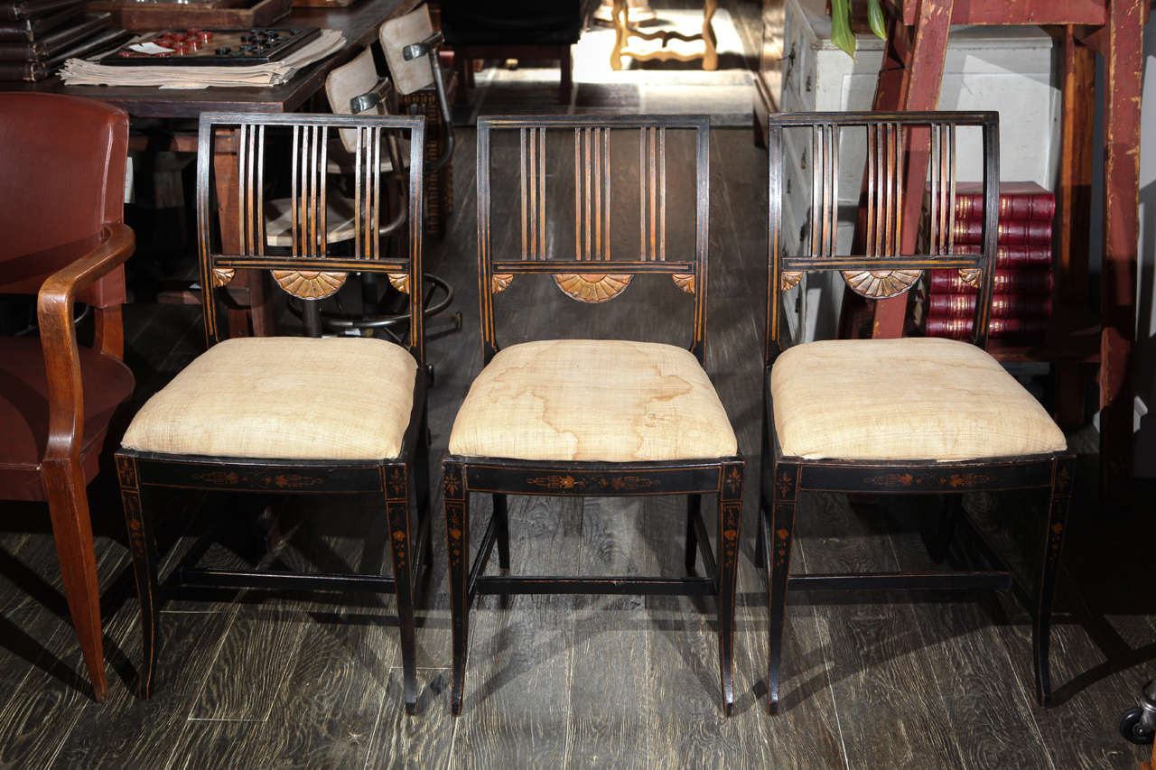 19th century set of six Swedish upholstered and decorated chairs. Great as dining chairs or accent chairs.