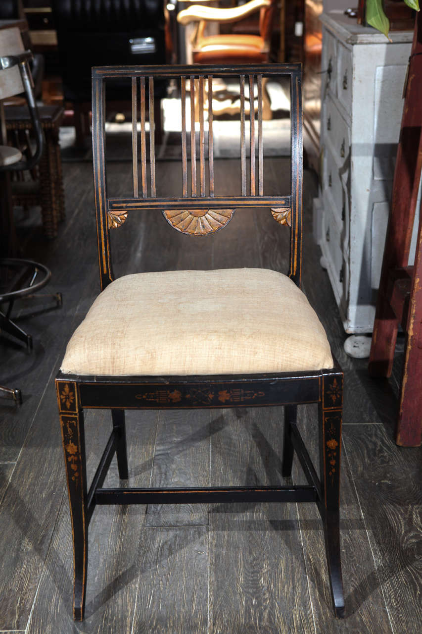 George III 19th Century Set of Six Upholstered and Decorated Chairs For Sale