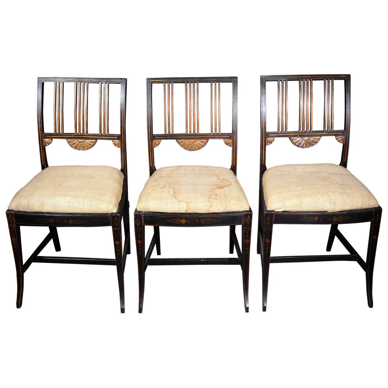 19th Century Set of Six Upholstered and Decorated Chairs