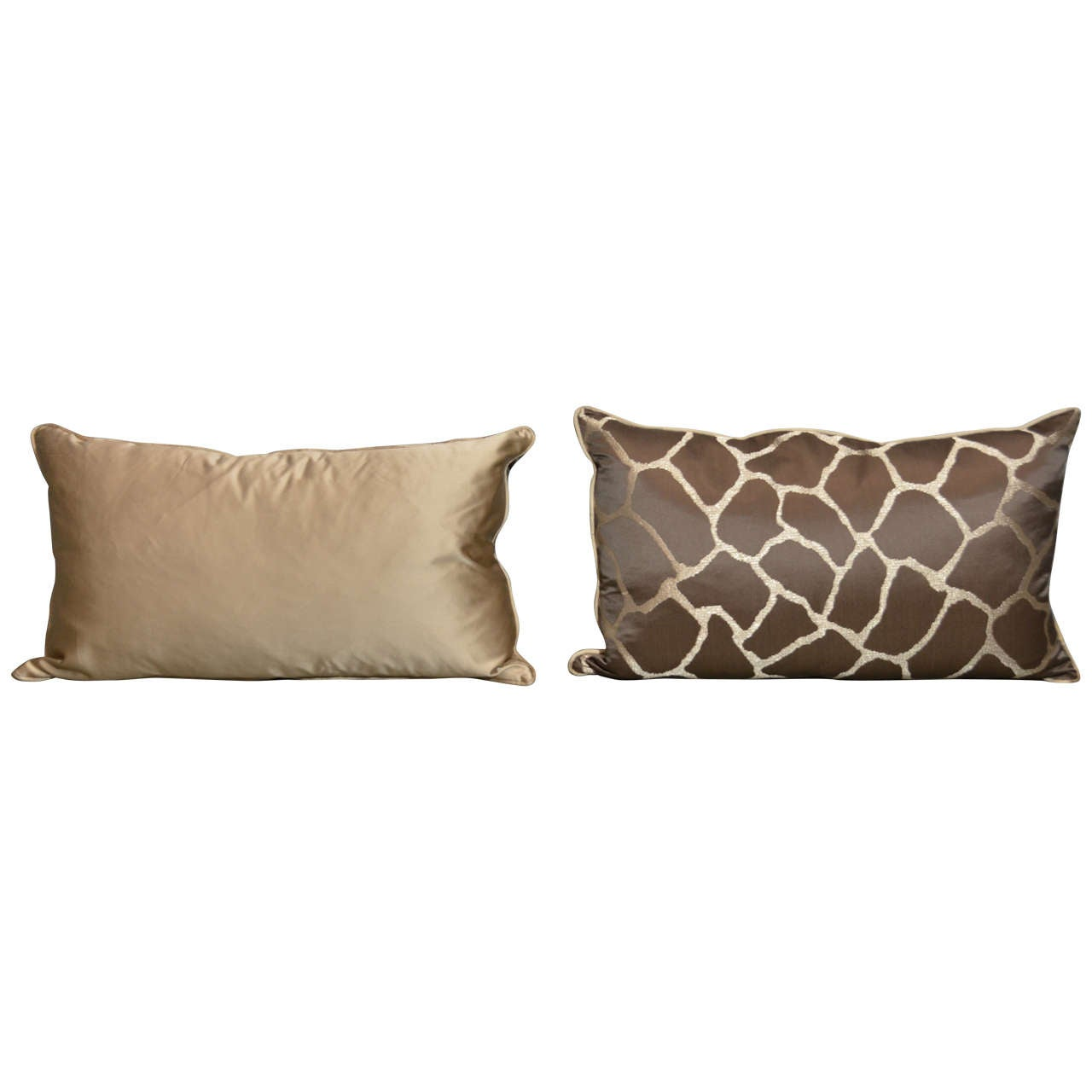 Pair of Scalamandre Giraffe Pillows For Sale