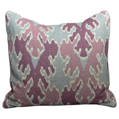 Pair of Purple and Gray Linen Ikat Pillows