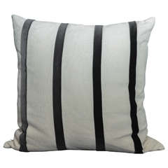 Off-White Linen Pillow with Charcoal Gray Velvet Stripes