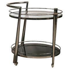Nickel and Glass Oval Bar Cart
