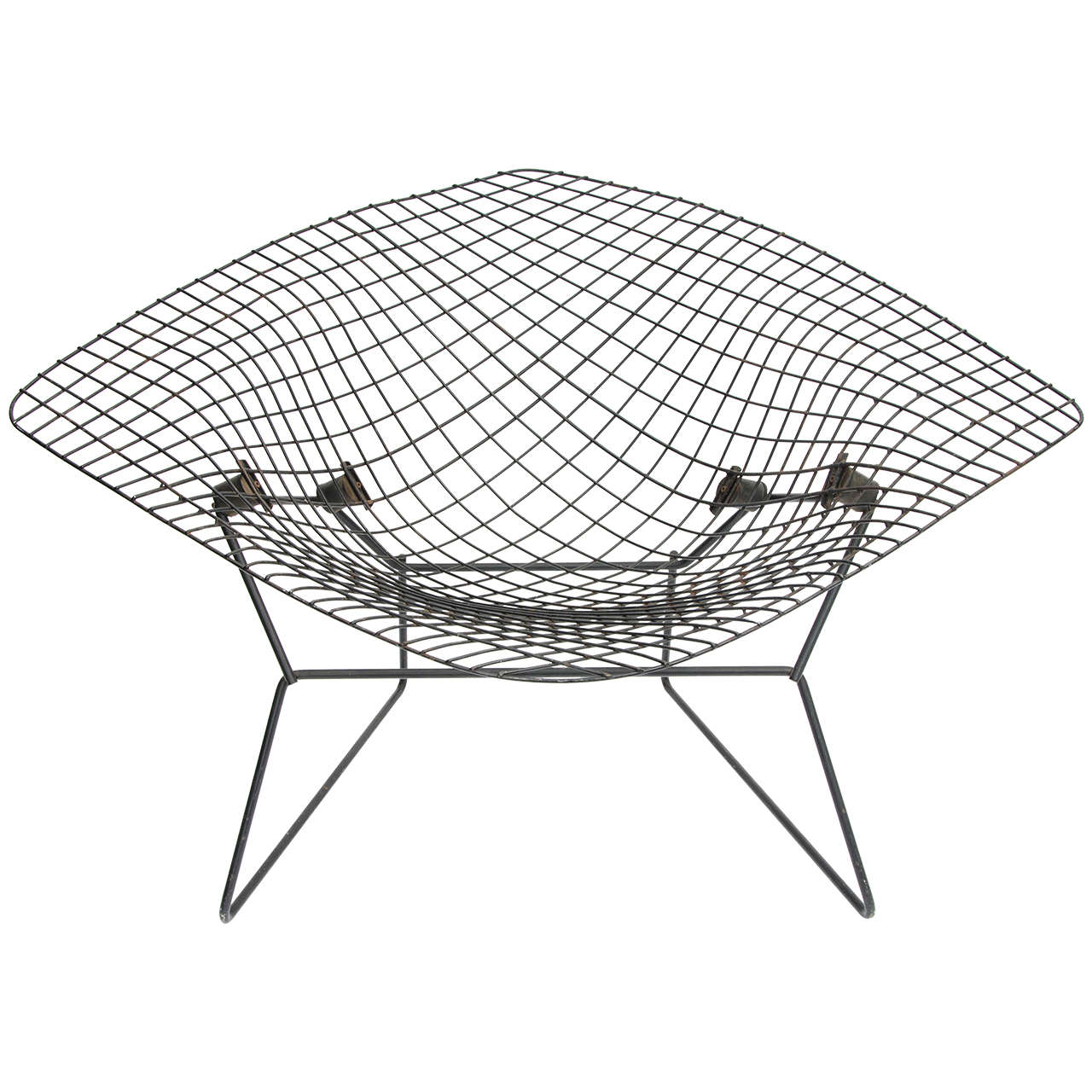Bertoia diamond chair black - Early Wide Diamond Chair By Harry Bertoia 1950s 1