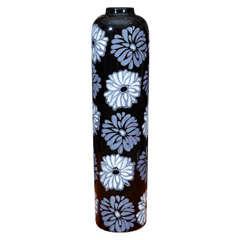 Italian Black & White Floral Tall Vase