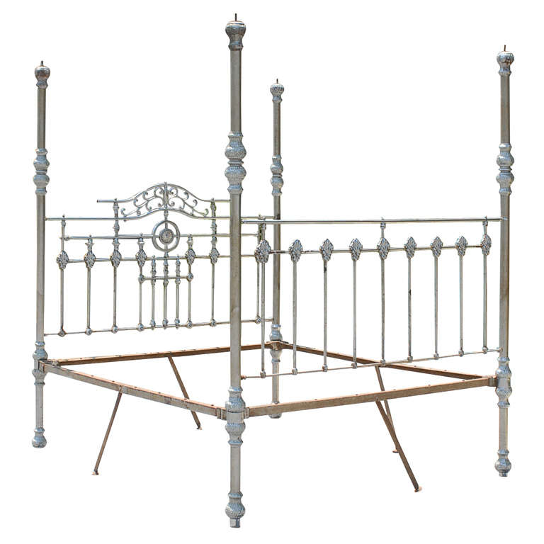 19th Century Steel Anglo Indian Four Poster Bed Frame For