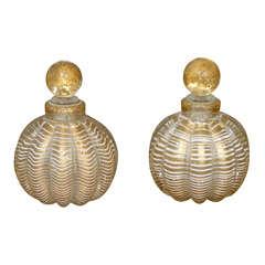 Pair Of 20thc Large Italian Murano Glass Perfume Bottles