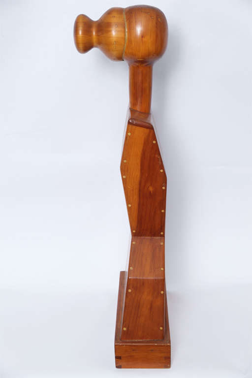 American Female Torso Wood Sculpture Signed Mike Nevelson, 1961 For Sale