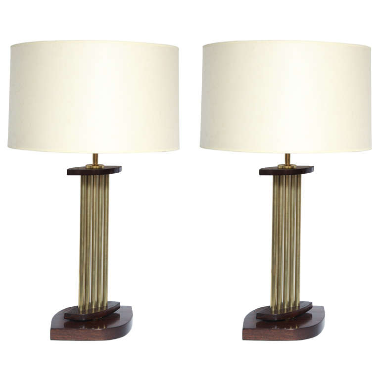 Pair of 1950s Architectural Brass and Wood Table Lamps