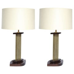 Table Lamps Pair Mid Century Modern Architectural brass and wood 1950's