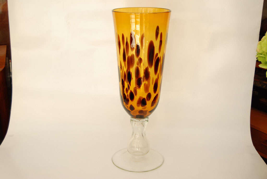 Faux tortoise shell glass vase at stdibs