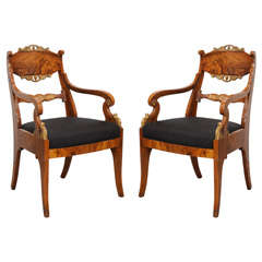 Pair of Russian Neoclassic Circassian Walnut and Parcel-Gilt Chairs