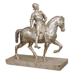 Italian Monumental Silvered Bronze Equestrian Figure