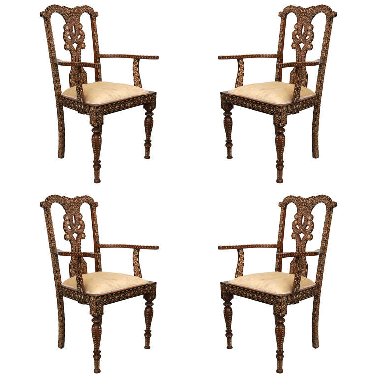 Rare Set of Four Anglo-Indian Hardwood and Bone Inlaid Armchairs