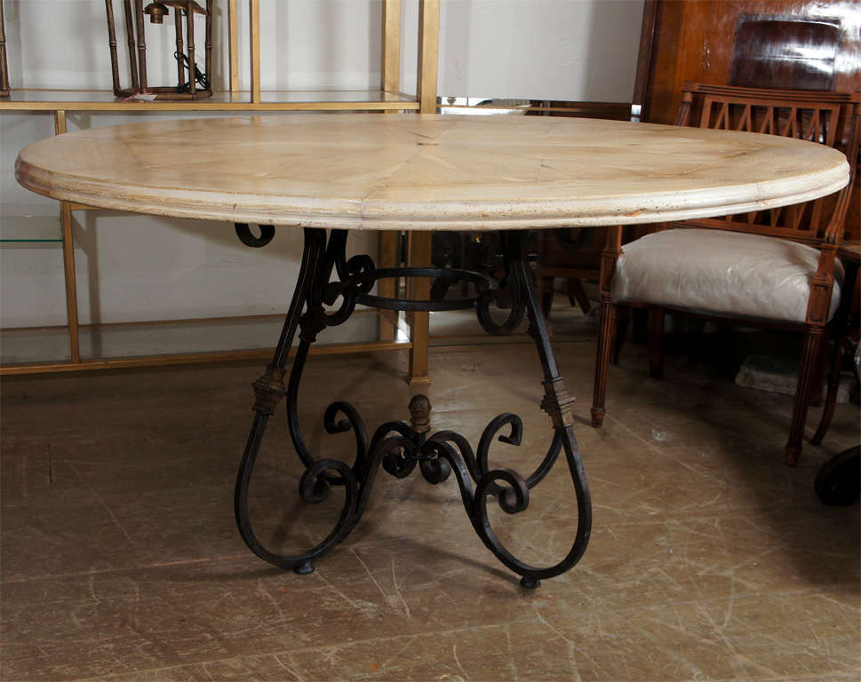 Stunning round bleached oak tabletop with starburst design and French Baroque style metal base dining table. Top and base can be sold separately. See detail photo to appreciate tabletop.  Keywords: kitchen table, centre hall table. Table base 30