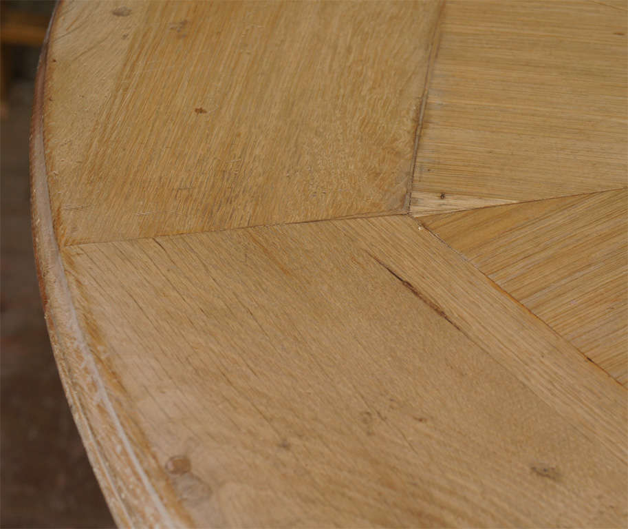 Round Starburst Design Bleached Oak Dining Table For Sale 5