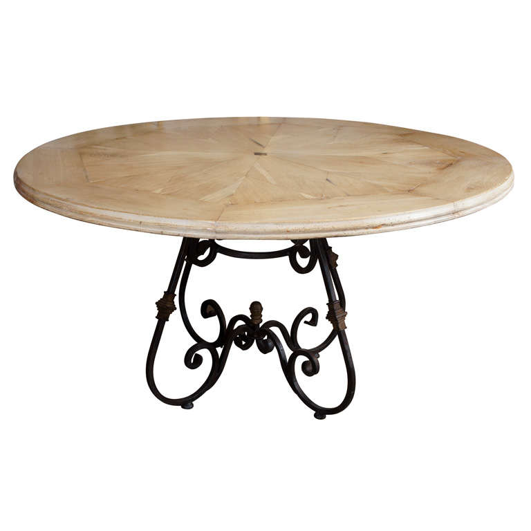 Round Starburst Design Bleached Oak Dining Table