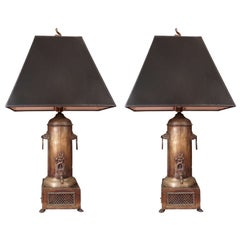 Pair of Antique Samovar Lamps