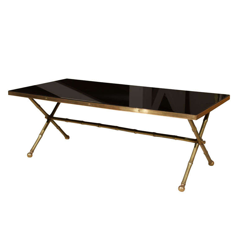 Bronze And Black Opaline Glass Cocktail Table At 1stdibs